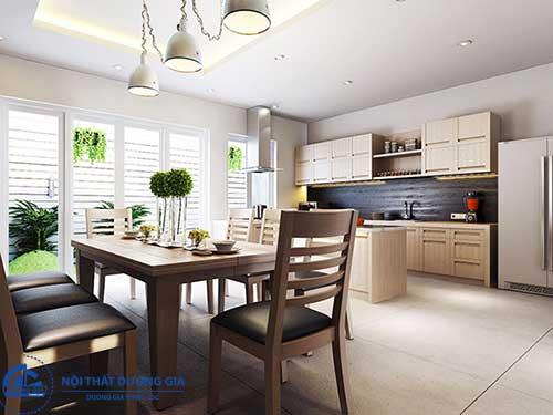 Mẫu nhà bếp đẹp đơn giản với nội thất tối giản