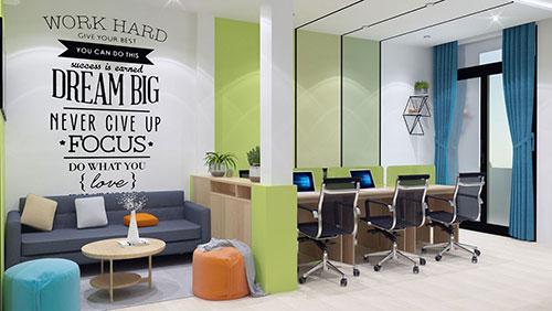 Bố trí văn phòng làm việc nhỏ giúp tạo nên vẻ thẩm mỹ, chuyên nghiệp
