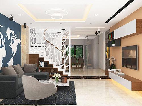 Màu sắc của vách ngăn phòng khách và cầu thang