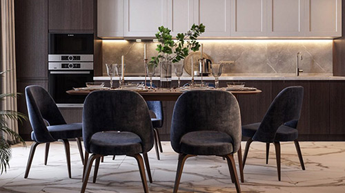Cách bố trí đồ nội thất phòng bếp ăn đẹp