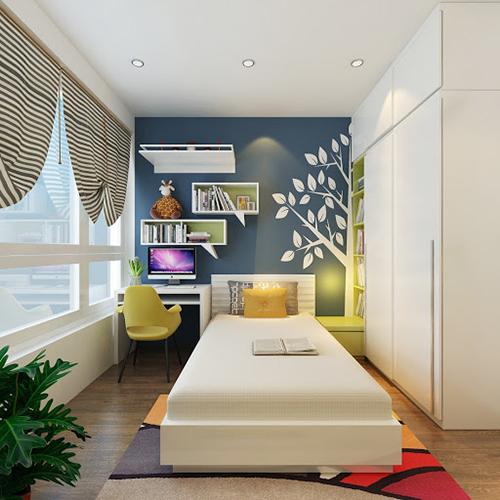 Trang trí nội thất phòng ngủ đẹp diện tích nhỏ bằng giấy dán tường